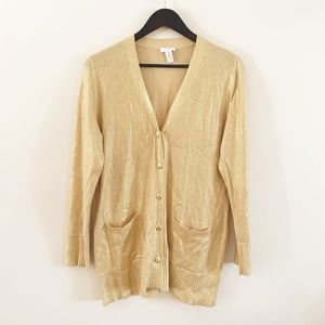 Chico's | Gold Shimmery Button Down Cardigan